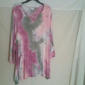 avenue plus size 30/32 5x pink top used